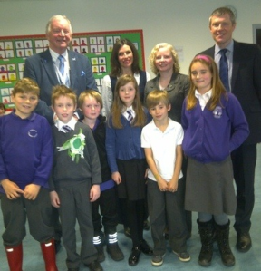 MSPs Bill Walker (left), Willie Rennie (centre) and Claire Baker (right) visit Duloch Primary School