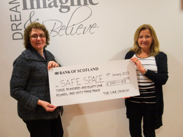 Fiona Thomson, who helped organise the event, and Patricia Beveridge, Finance Development Co-ordinator at Safe Space