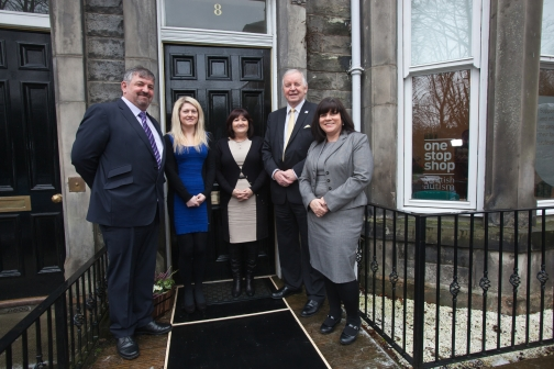 From left to right: Edward Fowler (One Stop Shop Manager), Eileen McCrossan (One Stop Shop Autism Advisor), Mary Hamilton (Autism Support Team Manager, Scottish Autism), Bill Walker MSP, Charlene Tait (Director of Development, Scottish Autism).