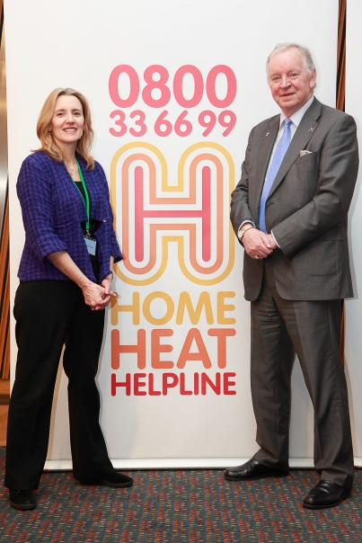 Bill Walker MSP at the Scottish Parliament launch of the Home Heat Helpline, with Christine McGourty, Director of Communications & Public Affairs, Energy UK