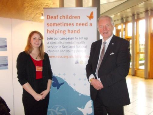 Katie Rafferty, NDCS Policy  & Campaign Officer in Scotland, with Bill Walker MSP