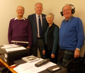Dunfermline Sound Team with MSP Bill Walker: Treasurer David Black (left), Sound Engineer Margaret Pearson, Magazine Editor Jim Jarvie (right).
