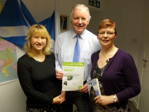 CAP's Julie Mann (left), Centre Manager of the Dunfermline Debt Centre, and Helene Kelly, Debt Coach and Links Coordinator for Fife, with Bill Walker MSP