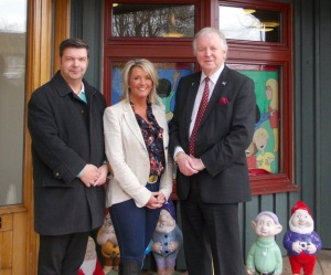 Garry Gibb (left), Laura Campbell and Bill Walker outside Rachel House in Kinross