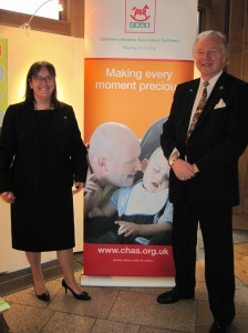 CHAS Chief Executive Maria McGill with Bill Walker MSP in Scottish Parliament