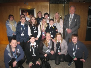 West Fife Villages youth volunteers, with Bill Walker, at the Scottish Parliament