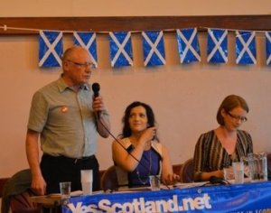 Dennis Canavan addresses the meeting, with Tasmina Ahmed-Sheikh (centre) and Shirley-Anne Somerville (right)