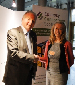 Bill Walker MSP with Katherine Harvey of Epilepsy Connections, one of the new Epilepsy Consortium Scotland members