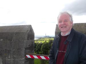 Dunfermline MSP Bill Walker at the top of the Bell Tower, Culross Abbey. Longannet Power Station can be seen in background.