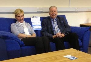 Gail Jackson, Sales Manager of Furniture Plus, with Bill Walker MSP in the showroom
