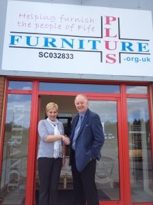 Gail Jackson, Sales Manager of Furniture Plus, with Bill Walker MSP at Pitreavie site visit in May 2013