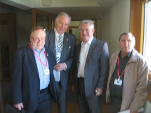 From left to right: Councillor Ian Chisholm, Bill Walker MSP, Kenneth Gibson MSP, Tam Livingstone